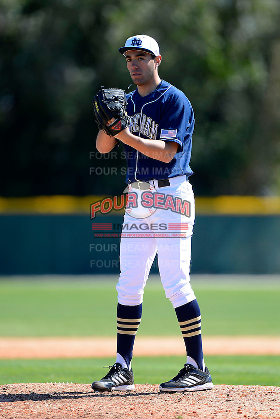 Notre Dame Fighting Irish pitcher Christian Torres #17 during a game against the Mercer Bears at the Buck O'Neil Complex on February 17, 2013 in Sarasota, Florida.  Mercer defeated Notre Dame 5-4.  (Mike Janes/Four Seam Images)