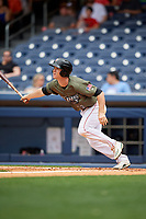 Nashville Sounds second baseman Joey Wendle (13) follows through on a swing during a game against the New Orleans Baby Cakes on April 30, 2017 at First Tennessee Park in Nashville, Tennessee.  The game was postponed due to inclement weather in the fourth inning.  (Mike Janes/Four Seam Images)