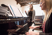 Jazz voice instructor Rachel St. Marseille works with Anastasia Ryseff '17 in Bird Studio of Booth Hall on Oct. 26, 2015.<br /> (Photo by Marc Campos, Occidental College Photographer)