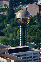 aerial photograph of the Sunsphere, Knoxville, Knox County, Tennessee