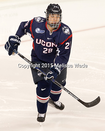 Kayla Mee (UConn - 28) - The Boston College Eagles defeated the visiting UConn Huskies 4-0 on Friday, October 30, 2015, at Kelley Rink in Conte Forum in Chestnut Hill, Massachusetts.