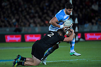 NZ's Codie Taylor tackles Argentina's Javier Ortega Desio during the Rugby Championship match between the New Zealand All Blacks and Argentina Pumas at Trafalgar Park in Nelson, New Zealand on Saturday, 8 September 2018. Photo: Dave Lintott / lintottphoto.co.nz