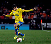 9th January 2018, Mestalla Stadium, Valencia, Spain; Copa del Rey football, round of 16, second leg, Valencia versus Las Palmas; Vicente Gomez, midfield player for Las Palmas drives the ball forward during the game