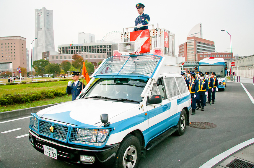 Japan police force shows a strong presence at Yokohama APEC meeting.