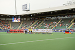 The Hague, Netherlands, June 10: Players of Korea and Germany line up for national anthem prior to the field hockey group match (Men - Group B) between Germany and Korea on June 10, 2014 during the World Cup 2014 at Kyocera Stadium in The Hague, Netherlands. Final score 6-1 (3-0) (Photo by Dirk Markgraf / www.265-images.com) *** Local caption ***