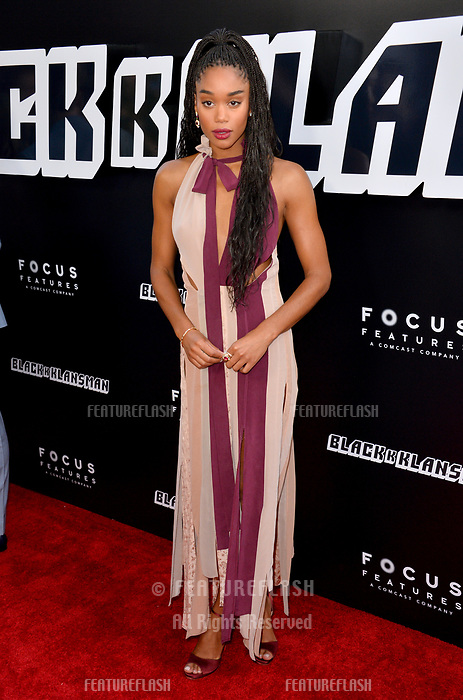 Laura Harrier at the Los Angeles premiere of &quot;BlacKkKlansman&quot; at the Academy's Samuel Goldwyn Theatre, Beverly Hills, USA 08 Aug. 2018<br /> Picture: Paul Smith/Featureflash/SilverHub 0208 004 5359 sales@silverhubmedia.com