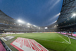10.03.2019, HDI Arena, Hannover, GER, 1.FBL, Hannover 96 vs Bayer 04 Leverkusen<br /> <br /> DFL REGULATIONS PROHIBIT ANY USE OF PHOTOGRAPHS AS IMAGE SEQUENCES AND/OR QUASI-VIDEO.<br /> <br /> im Bild / picture shows<br /> HDI Arena / Spielfeld im Schneeschauer, <br /> <br /> Foto &copy; nordphoto / Ewert