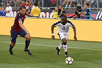 East Hartford, CT - Saturday July 01, 2017: Omar Gonzalez, Majeed Waris during an international friendly match between the men's national teams of the United States (USA) and Ghana (GHA) at Pratt & Whitney Stadium at Rentschler Field.