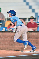 Burlington Royals shortstop Nicky Lopez (4) runs to first base during Game Two of the Appalachian League Championship series against the Johnson City Cardinals at TVA Credit Union Ballpark on September 7, 2016 in Johnson City, Tennessee. The Cardinals defeated the Royals 11-6 to win the series 2-0.. (Tony Farlow/Four Seam Images)