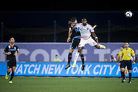 BRONX, NY - Sunday September 19, 2015: New York City FC defeats the San Jose Earthquakes 3-2 at home at Yankee Stadium during the 2015 MLS regular season.