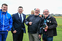 Caolan Rafferty  (GB&I) with some odd looking individuals during the opening ceremony at the Walker Cup, Royal Liverpool Golf CLub, Hoylake, Cheshire, England. 06/09/2019.<br />