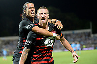 28th February 2020; Netstrata Jubilee Stadium, Sydney, New South Wales, Australia; A League Football, Sydney FC versus Western Sydney Wanderers; Mitchell Duke of Western Sydney Wanderers celebrates his goal with Daniel Georgievski to make it 1-0 in minute 81
