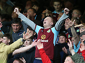 1st October 2017, Goodison Park, Liverpool, England; EPL Premier League Football, Everton versus Burnley; Delighted Burnley fans applaud their team's win at the final whistle