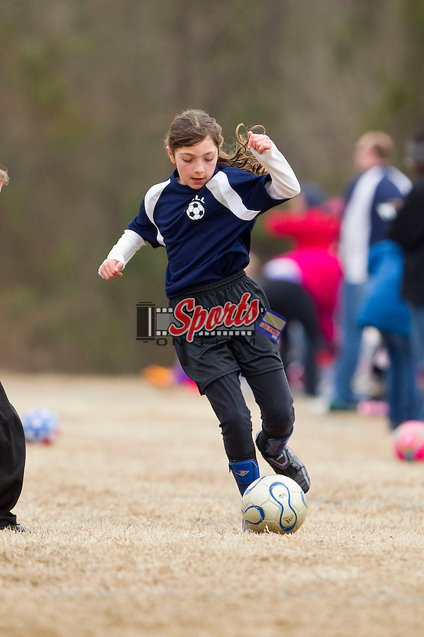 The Blue Thunder in Odell Youth Soccer action at Cox Mill Elementary School on March 23, 2013 in Concord, North Carolina.  (Brian Westerholt/Sports On Film)