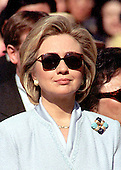 Washington, DC - April 8, 1999 -- United States First Lady Hillary Rodham Clinton listens to welcoming remarks at the Official Arrival crermony for Chinese Premier Zhu Rongji on April 8, 1999 on the South Lawn of the White House in Washington, D.C..Credit: Ron Sachs / CNP