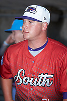 Matt Foster (14) of the Winston-Salem Dash prior to the start of the 2018 Carolina League All-Star Classic at Five County Stadium on June 19, 2018 in Zebulon, North Carolina. The South All-Stars defeated the North All-Stars 7-6.  (Brian Westerholt/Four Seam Images)