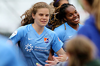 Piscataway, NJ - Sunday April 30, 2017: Daphne Corboz, Kayla Mills during a regular season National Women's Soccer League (NWSL) match between Sky Blue FC and FC Kansas City at Yurcak Field.