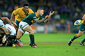 9th September 2017, nib Stadium, Perth, Australia; Supersport Rugby Championship, Australia versus South Africa; Francois Hougaard of the South African Springboks passes the ball from the ruck during the second half