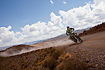 Bike racer Juan Pedrero from Spain riding his Sherco motorcycle during the 5th stage of the Dakar Rally 2016 in the Bolivian Altiplano.