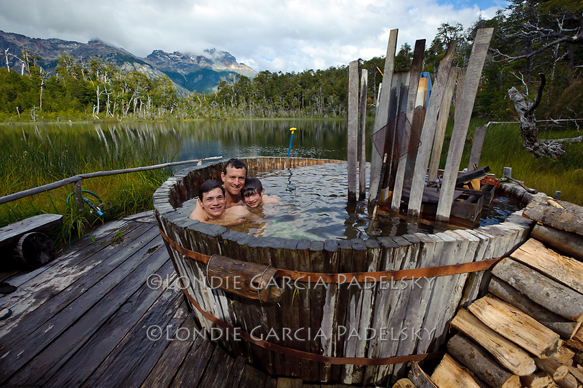 Hot Tub at Tree House Camp, Futalefu River, Los Lagos Region, Patagonia, Chile, South America