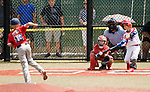 WATERBURY, CT-0712017JS16-- Puerto Rico Emanuel Hernandez (13) rips a base hit off Wolcott's Chris Bova (16) during their Roberto Clemente World Series game Thursday at Municipal Stadium in Waterbury. <br /> Jim Shannon Republican-American