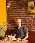 David Starkey dining  at his famed Mexican restaurant, Tomatillo, in Dobbs Ferry, New York.