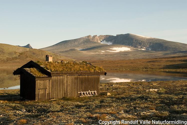 Hytte ved Enøvlingsvatnet i Dovrefjell. Snøhetta i bakgrunnen ---- Hut in Dovrefjell. Snøhetta in the background