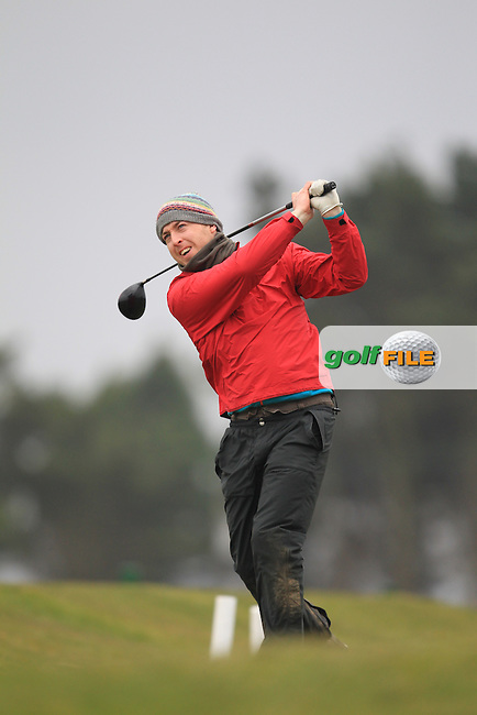 Lyod O'Rourke (Carton House) on the 1st teeing off in the Hilary golf society in Co Louth Golf Club 24/3/13.Picture: Fran Caffrey / www.golffile.ie ..