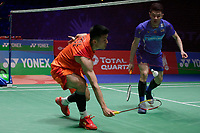 13th March 2020, Arena Birmingham, Birmingham, UK;  China s Chen Long L and Malaysias Lee Zii Jia compete during the mens singles quarterfinal match at the All England Open Badminton Championships in Birmingham