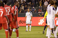 LA Galaxy forward Landon Donovan (10) sets up a freekick. The LA Galaxy and Toronto FC played to a 0-0 draw at Home Depot Center stadium in Carson, California on Saturday May 15, 2010.  .