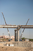 Rajasthan, India. Road from Jodhpur to Jaipur. New flyover being built. Bridge, roadworks.