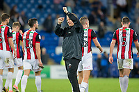 Sheffield United manager Chris Wilder claps the travelling fans at full time of the Sky Bet Championship match between Cardiff City and Sheffield United at Cardiff City Stadium, Cardiff, Wales on 15 August 2017. Photo by Mark  Hawkins / PRiME Media Images.