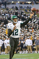 Annapolis, MD - October 26, 2019: Tulane Green Wave quarterback Justin McMillan (12) throws a touchdown during the game between Tulane and Navy at  Navy-Marine Corps Memorial Stadium in Annapolis, MD.   (Photo by Elliott Brown/Media Images International)