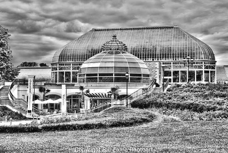 Phipps Conservatory in Pittsburgh PA on a cloudy day.