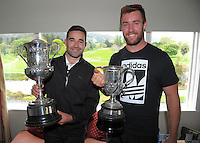 Media all-stars George Harper Jr and Mark Abbott with the event trophies. Cobra Puma New Zealand Amateur Golf Championship Qualifying at the Royal Wellington Golf Course in Silverstream, Wellington, New Zealand on Thursday, 27 October 2016. Photo: Dave Lintott / lintottphoto.co.nz / BWmedia.co.nz