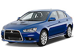 Front 3/4 angular view of a blue 2010 Mitsubishi Lancer Sportback GTS