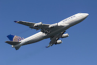 United Airlines Boeing 747 in flight.