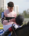 HALLANDALE BEACH, FL - DECEMBER 16:  Lewis Bay with Irad Ortiz Jr  enter the winners' circle after winning the G3 Rampart  Stakes at Gulfstream Park on December 16, 2017 in Hallandale Beach, Florida. (Photo by Liz Lamont/Eclipse Sportswire/Getty Images)