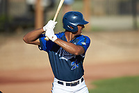 Justin Rodriguez (20) (North Carolina A&T) of the Martinsville Mustangs at bat against the High Point-Thomasville HiToms at Finch Field on July 26, 2020 in Thomasville, NC.  The HiToms defeated the Mustangs 8-5. (Brian Westerholt/Four Seam Images)