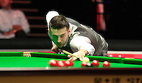 Mark Selby with a shot on a red ball during the Dafabet Masters Quarter Final 3 match between Ronnie O'Sullivan and Mark Selby at Alexandra Palace, London, England on 14 January 2016. Photo by Liam Smith / PRiME Media Images