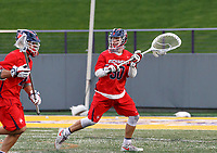 Richmond goalkeeper Blake Goodman (#30) begins a clear as UAlbany Men's Lacrosse defeats Richmond 18-9 on May 12 at Casey Stadium in the NCAA tournament first round.