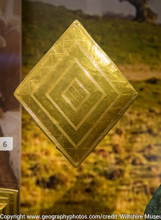 Gold lozenge-shaped sheet from the Bush Barrow chieftain burial site. With permission of Wiltshire Museum, Devizes, England, UK