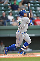 Designated hitter Emmanuel Rivera (7) of the Lexington Legends bats in a game against the Greenville Drive on Wednesday, April 12, 2017, at Fluor Field at the West End in Greenville, South Carolina. Greenville won, 4-1. (Tom Priddy/Four Seam Images)