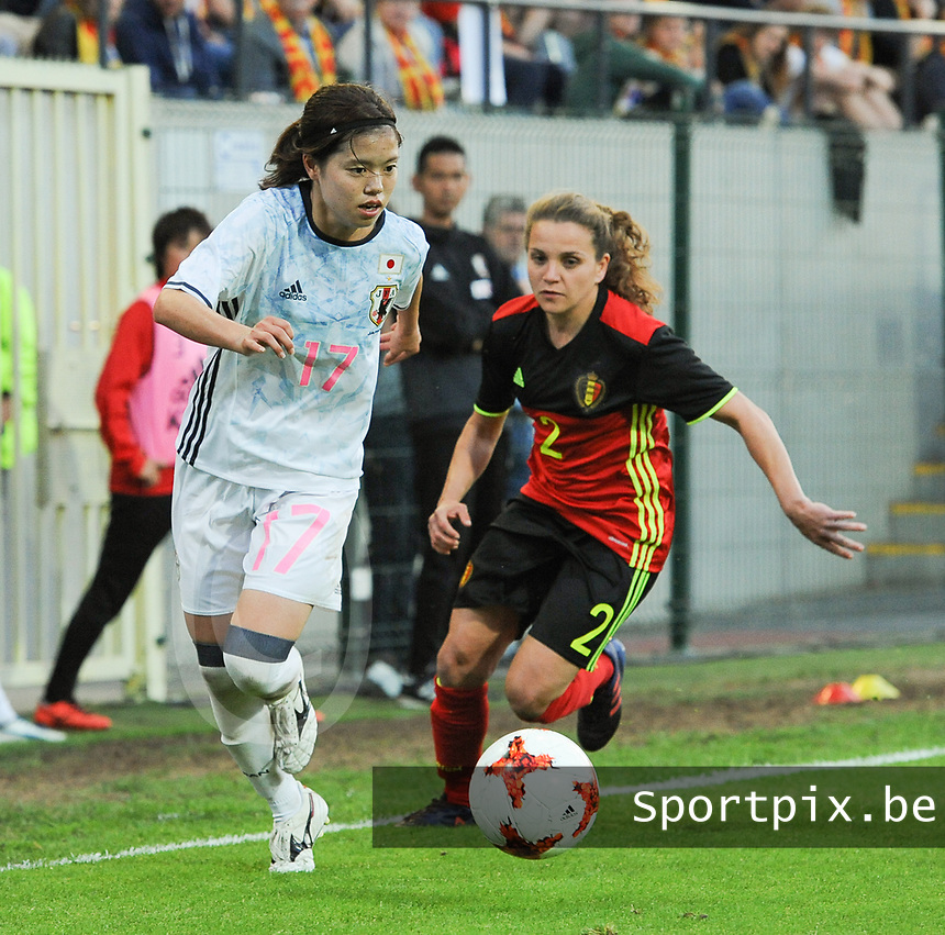 20170613 - LEUVEN ,  BELGIUM : Belgian Davina Philtjens (R) and Japanese Yui Hasegawa (L) pictured during the female soccer game between the Belgian Red Flames and Japan , a friendly game before the European Championship in The Netherlands 2017  , Tuesday 13 th Juin 2017 at Stadion Den Dreef  in Leuven , Belgium. PHOTO SPORTPIX.BE | DIRK VUYLSTEKE