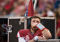 Hawgs Illustrated/BEN GOFF <br /> Austin Allen, Arkansas quarterback, watches from the bench in the fourth quarter Saturday, Nov. 4, 2017, at Reynolds Razorback Stadium in Fayetteville.