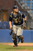 State College Spikes catcher Luke Voit (33) during a game against the Jamestown Jammers on September 3, 2013 at Russell Diethrick Park in Jamestown, New York.  State College defeated Jamestown 3-1.  (Mike Janes/Four Seam Images)