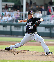 Austin Adams #36 of the Akron Aeros plays in a game against the Harrisburg Senators at Metro Bank Park on June 10, 2011 in Harrisburg, Pennsylvania.   ..Photo By Bill Mitchell/Four Seam Images