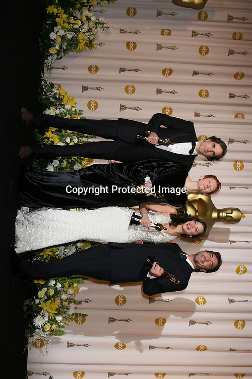 Daniel Day Lewis Tilda Swinton Marion Cotillard Javier Bardem.80th Academy Awards ( Oscars).Press Room.Los Angeles, CA.February 23, 2008.©2008 Kathy Hutchins / Hutchins Photo....