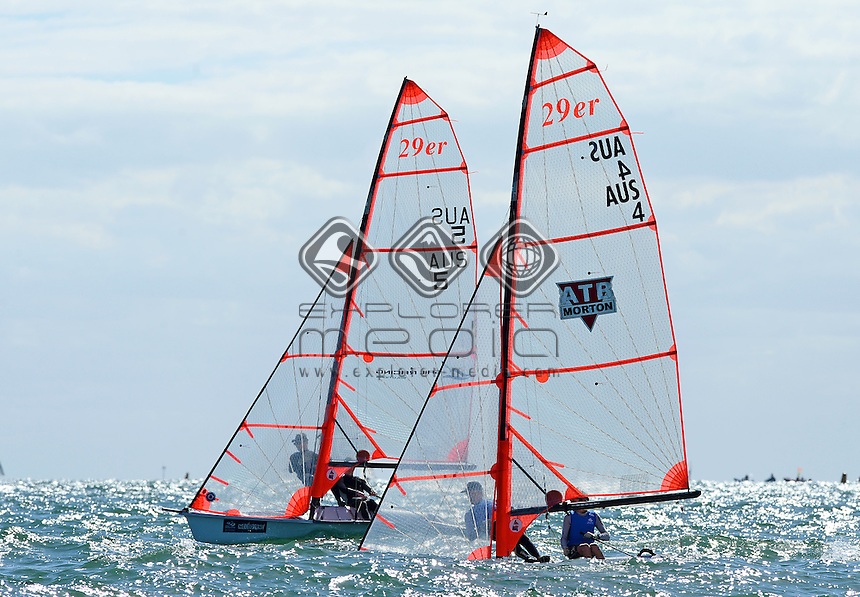 29ER / general racing views / fleet<br /> 2013 ISAF Sailing World Cup - Melbourne<br /> Sail Melbourne - The Asia Pacific Regatta<br /> Sandringham Yacht Club, Victoria<br /> December 1st - 8th 2013<br /> &copy; Sport the library / Jeff Crow