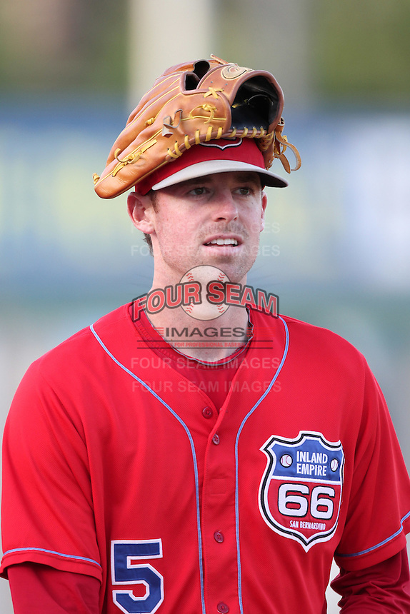 Inland Empire 66'ers pitcher Mike Kenney #5 before a game against the Stockton Ports at Arrowhead Credit Union Park on September 4, 2011 in San Bernardino,California. Stockton defeated Inland Empire 3-0.(Larry Goren/Four Seam Images)